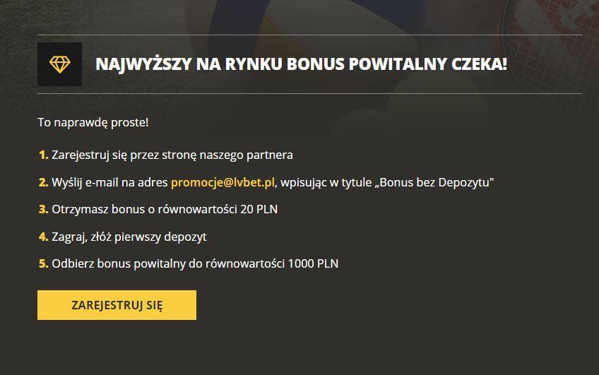 lvbet bonus za rejestracje