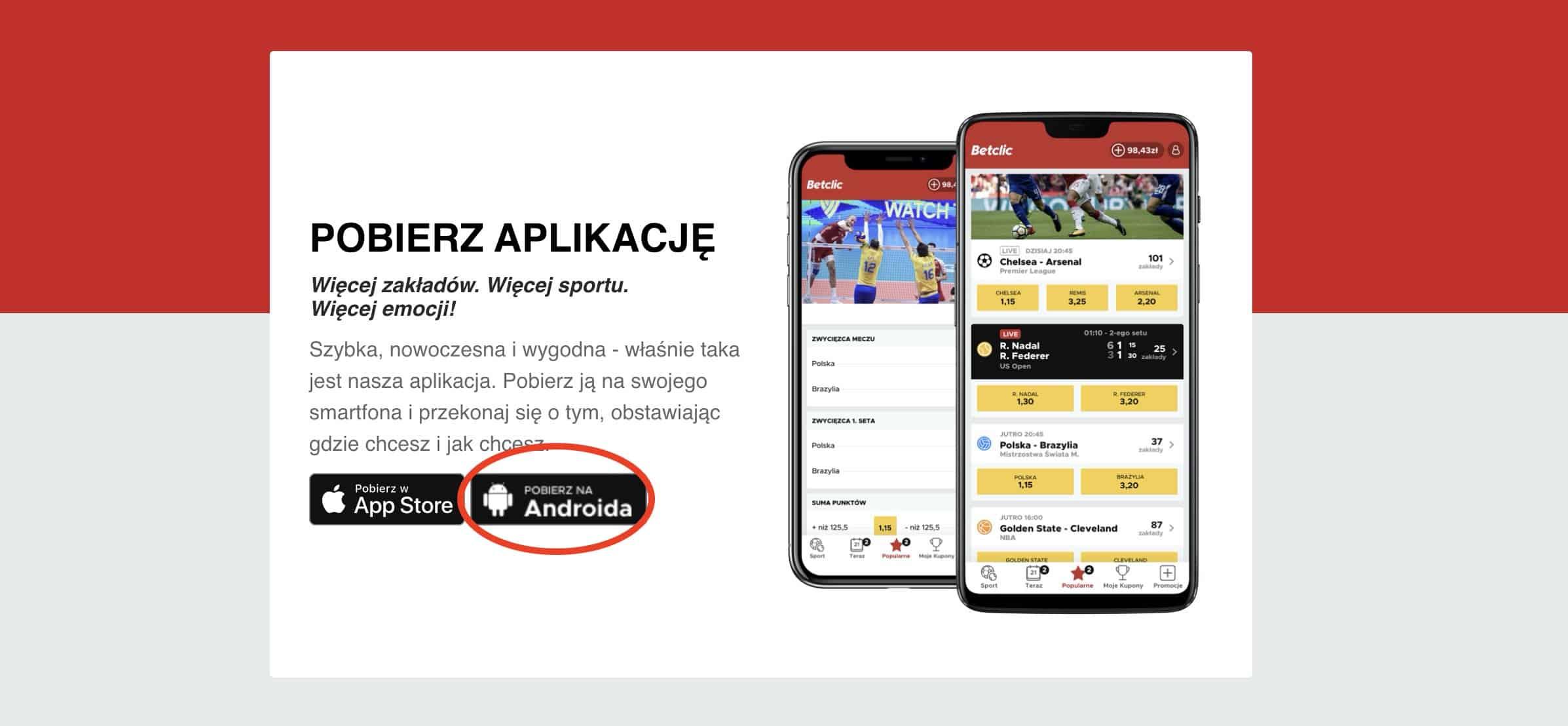 Betclic aplikacja APK. Pobieranie - krok 1